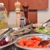 mesa de ensaladas en Villa Mercedes